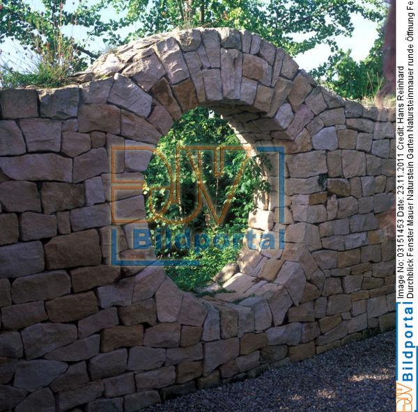 details zu 0003151453 durchblick fenster mauer naturstein garten djv bildportal. Black Bedroom Furniture Sets. Home Design Ideas