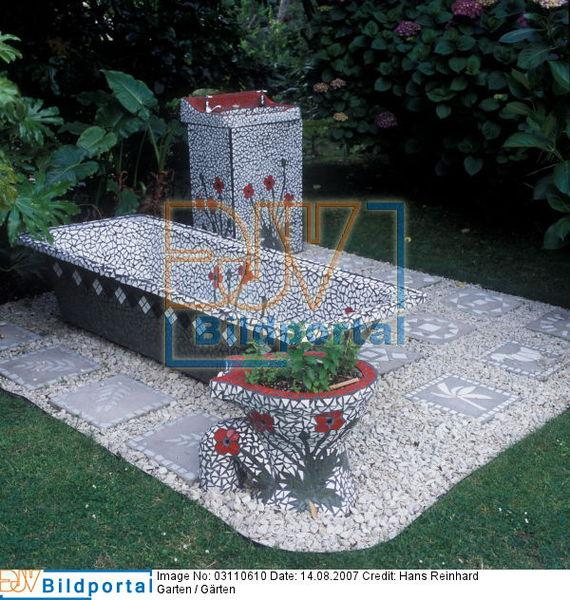details zu 0003110610 kunstwerk mosaikwanne waschbecken im garten djv bildportal. Black Bedroom Furniture Sets. Home Design Ideas
